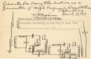 Circuits for Using the Audion as a Generator of High Frequency Oscillation, 1914 March 13