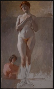 Florine Stettheimer, Nude Study, Standing with Hands Clasped, late 1890s, oil on canvas mounted on board, 30 x 18 in. (76.3 x 45.8 cm), Art Properties, Avery Architectural & Fine Arts Library, Columbia University in the City of New York, Gift of the Estate of Ettie Stettheimer, 1967 (1967.23.02)