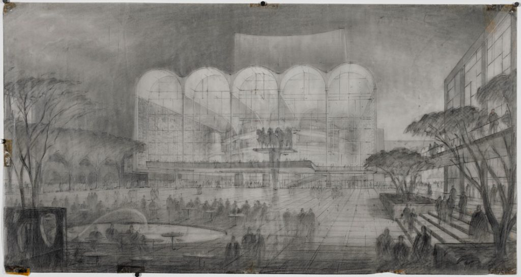 Hugh Ferriss. Lincoln Center for the Performing Arts. Center of the Center, 1958.