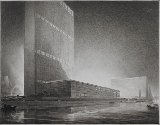Hugh Ferriss. United Nations, New York, NY - Bird's-eye perspective looking south. 1947 (1000.001.00255)