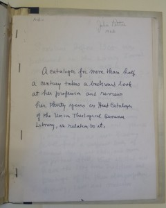 Photo of Pettee's autobiographical manuscript, 1962: Union Theological Seminary Archives, Series 2, UTS Records, Burke Library at Union Theological Seminary, Columbia University in the City of New York.