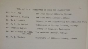 Complete list of Code for Classifiers Committee as of May 1914: Union Theological Seminary Archives, Series 2, UTS Records, Burke Library at Union Theological Seminary, Columbia University in the City of New York.