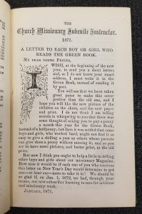 "Editor's letter noting the ""prettier"" cover, new title page illustration, and a non-change in price. -- The Church Missionary Juvenile Instructor, Jan. 1871, p.[1]."