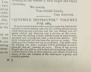 Note regarding cover options for the year's bound volume. -- The Church Missionary Juvenile Instructor, Dec. 1884, p.137.