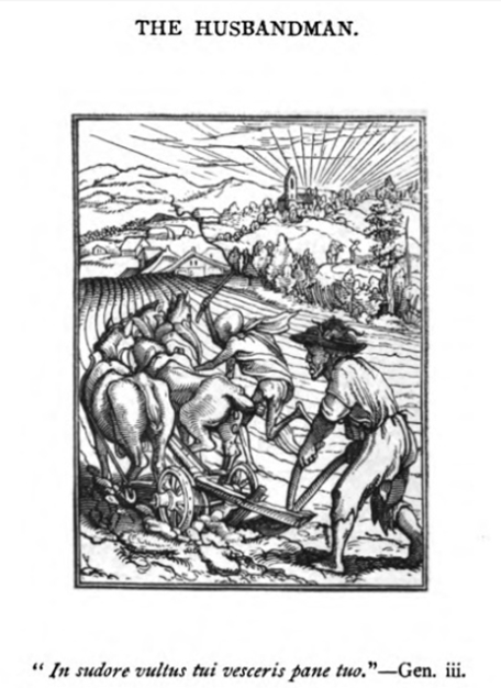 """The Husbandman,"" woodcut engraving by Hans Holbein the Younger"