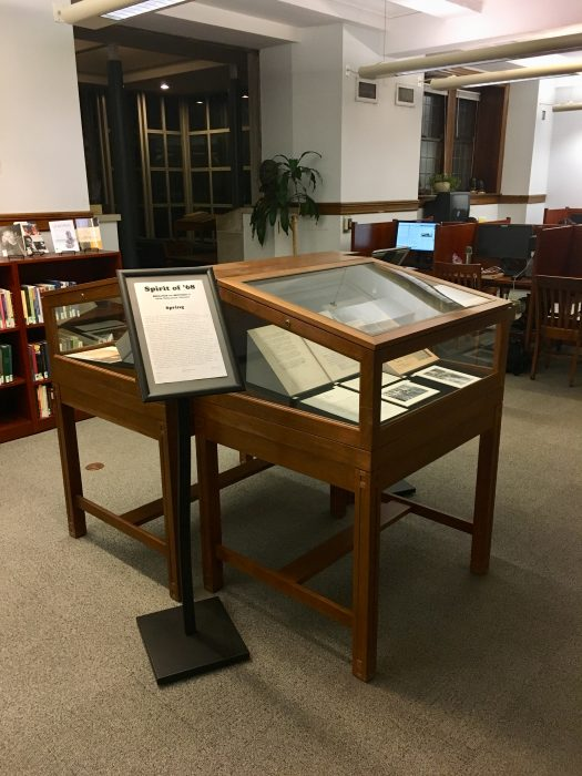 """Spirit of '68"" exhibit display on level L1 of the Burke Library. Photo by Carolyn Bratnober, The Burke Library at Union Theological Seminary (2018)."