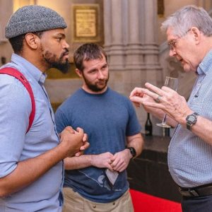 "Students and alumni at the ""Spirit of '68"" Exhibit Opening Reception (October 4, 2018). Photo by @UnionSeminary on Instagram (2018)."