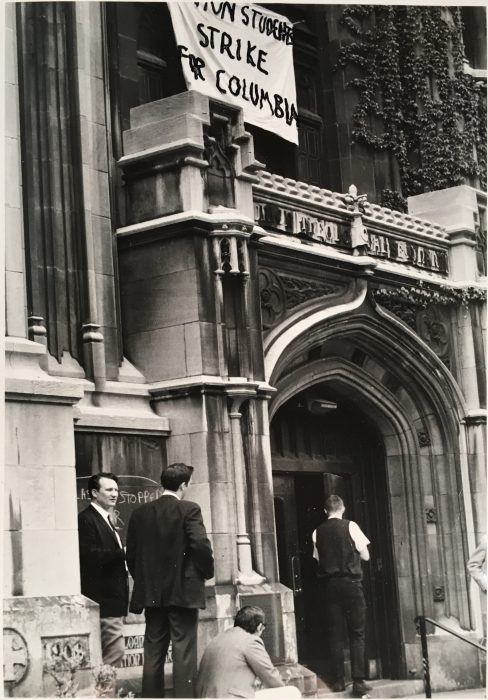 """Union Students Strike for Columbia"" banner, UTS 2 Records, the Burke Library at Union Theological Seminary in the City of New York"