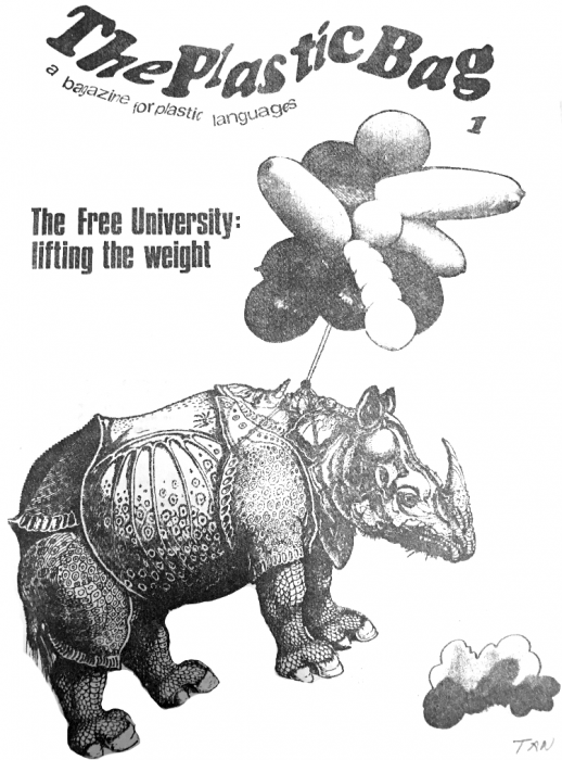 "Image is the cover of a student publication called The Plastic Bag from 1968, image shows a rhinoceros being lifted by balloons with the title ""the free university: lifting the weight"""