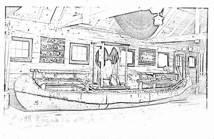 Page from the Color Our Collections 2019 coloring book of the Grand Portage National Monument Archives. Image is a black-and-white edited photograph of a room in a museum featuring a birch bark canoe and indigenous artwork from Minnesota.