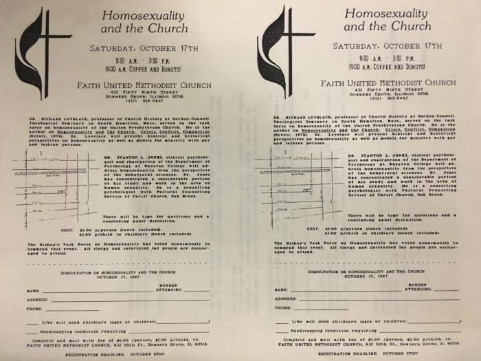 """Homosexuality and the Church"" event description page, on the verso of a typewritten document of research notes, from the emilie m. townes papers, series 2, box 2, folder 3, Archives of Women in Theological Scholarship, the Burke Library at Union Theological Seminary, Columbia University in the City of New York."