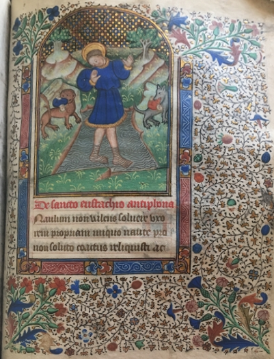 UTS MS 051, f143r. An illumination showing Saint Eustace. From the Burke Library at Union Theological Seminary, Columbia University in the City of New York.