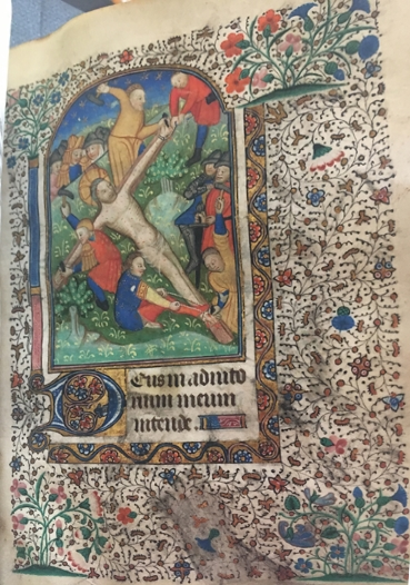 UTS MS 051, f62r. An illumination depicting a crucifixion scene. From the Burke Library at Union Theological Seminary, Columbia University in the City of New York.