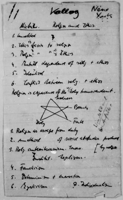 Page from a notebook belonging to Dietrich Bonhoeffer