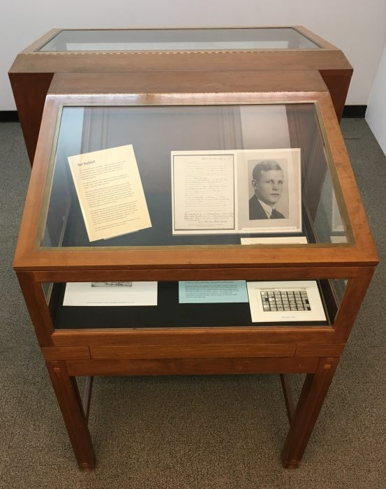 Photograph of the exhibit case housing the Dietrich Bonhoeffer Nachlass microfiche collection exhibit