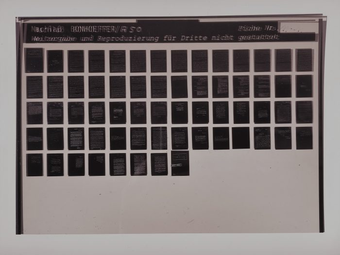 Photograph of a microfiche card from the Dietrich Bonhoeffer Nachlass collection of primary-source documents