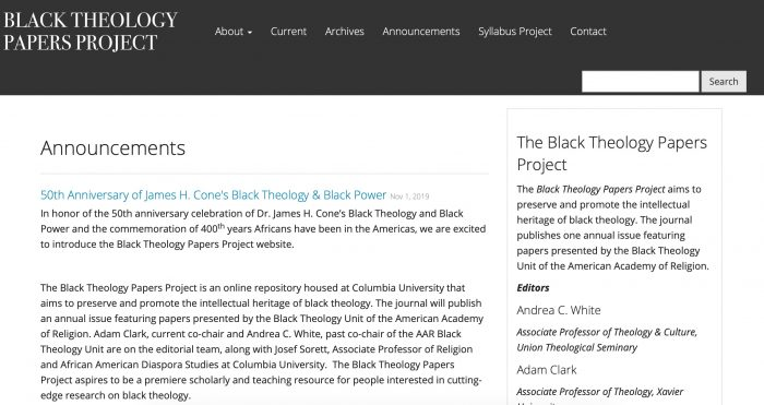 Screenshot of the Black Theology Papers Project website, noting the 50th Anniversary of James H. Cone' book, Black Theology & Black Power