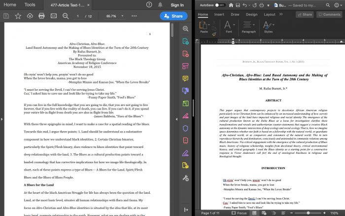 "split computer screen with on the left a pdf unformatted form of authors document (here, M. Rufus Burnett Jr.'s paper, entitled ""Afro-Christian, Afro-Blue: Land Based Autonomy and the Making of Blues Identities at the Turn of the 20th Century"") and on the right a word document with the paper formatted in the journal template"