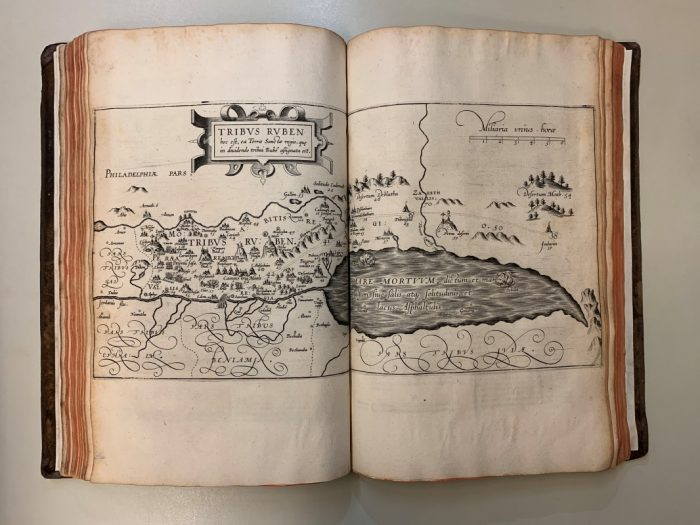 A page from Christiaan van Adrichem's Theatrum Terrae Sanctae (1590), a new acquisition that includes maps of the Holy Land.
