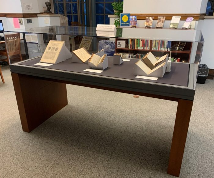 The Burke Library's new exhibit case, donated last year in memory of longtime librarian Seth Kasten, showcasing new special collections acquisitions from the previous year.