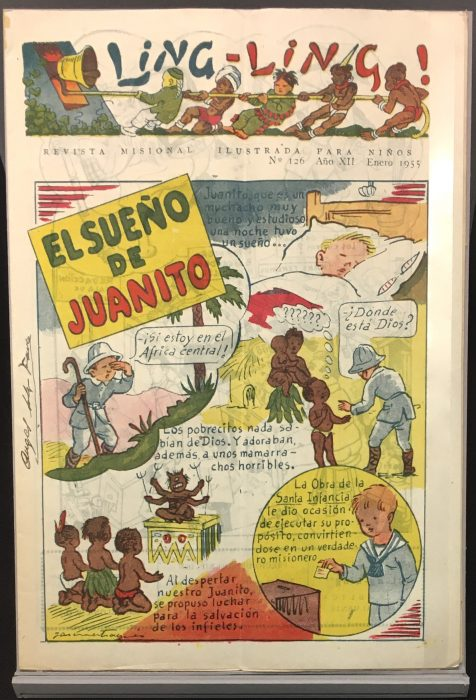 "The February 1956 issue of Ling-Ling: revista misional ilustrada para niños, another new acquisition at the Burke Library. The image shows a page of comic-book cartoons in Spanish, depicting a small light-skinned child interacting with dark-skinned children and adults, with the title ""El Sueno de Juanito"""