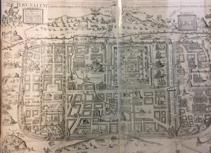 Map of the city of Jerusalem, created circa 1590 CE, from the rare folio Theatrum Terrae Sanctae et biblicarum historiarum ('The Theater of the Holy Land and Biblical History') by Christiaan van Adrichem.