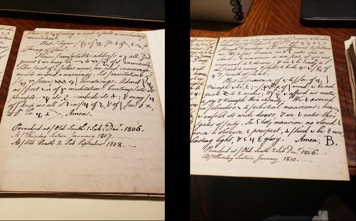 "Images of handwritten sermons by Joseph Eckley, sent from the Congregational Library and Archives, with similar capital ""B"" signature to the manuscripts held at the Burke Library"