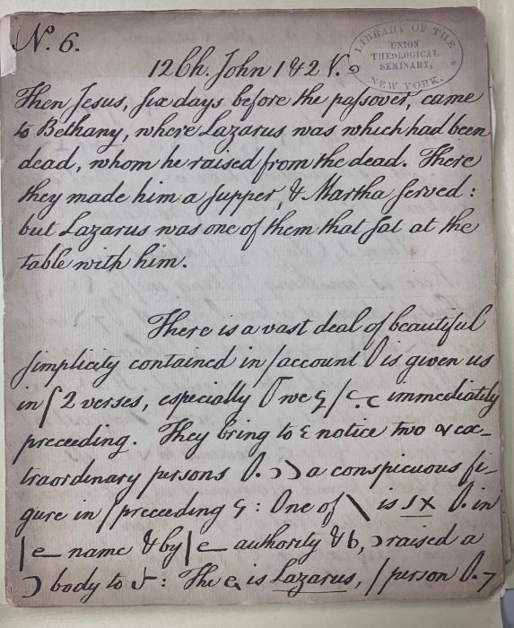 Image of a handwritten sermon by Joseph Eckley, circa the late-1700s or early-1800s.