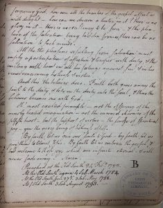 """Sermon by Joseph Eckley, circa the late-1700s or early-1800s, with a mysterious capital """"B"""" in the signature position.   UTS MS 180, the Burke Library at Union Theological Seminary (Columbia University Libraries)"""