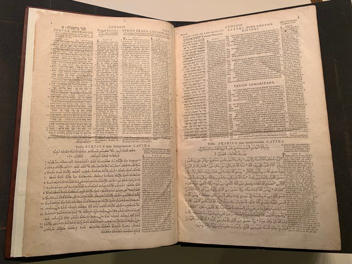 Page of the Walton Polyglot Bible (1655), with text in several different languages side-by-side. (UTS CB12 1655)