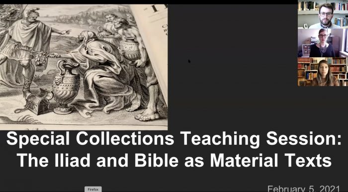 Screenshot of presentation by librarians Jeffrey Wayno, Emily Runde, and Melina Moe