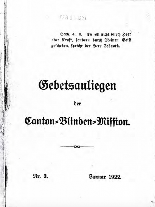 """Cover of a 1922 issue of """"Gebetsanliegen der Canton-Blinden-Mission"""" housed at the Burke Library. Item record at: https://clio.columbia.edu/catalog/5255647"""