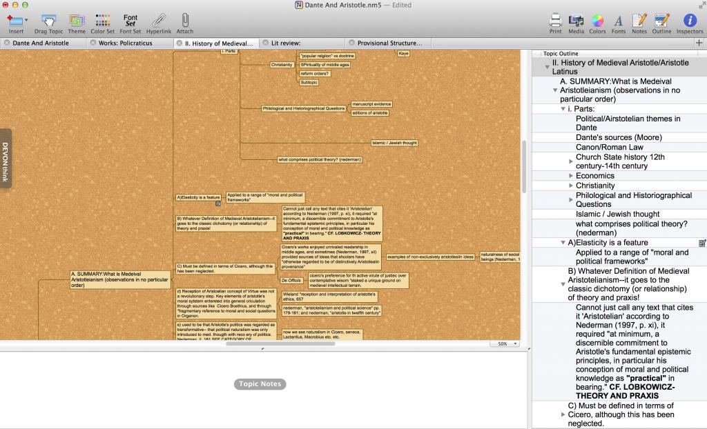 Using OPML based outlining in Novamind Pro