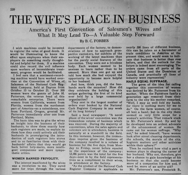 "Forbes, B. C. ""The Wife's Place in Business."" Forbes 1.5 (Nov 1917): 228ff."