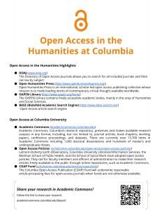 OAWeek2015 HumanitiesSupplementHandout