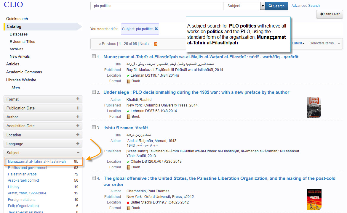 Enhanced Author and Subject Searching in CLIO | CLIO News & Updates