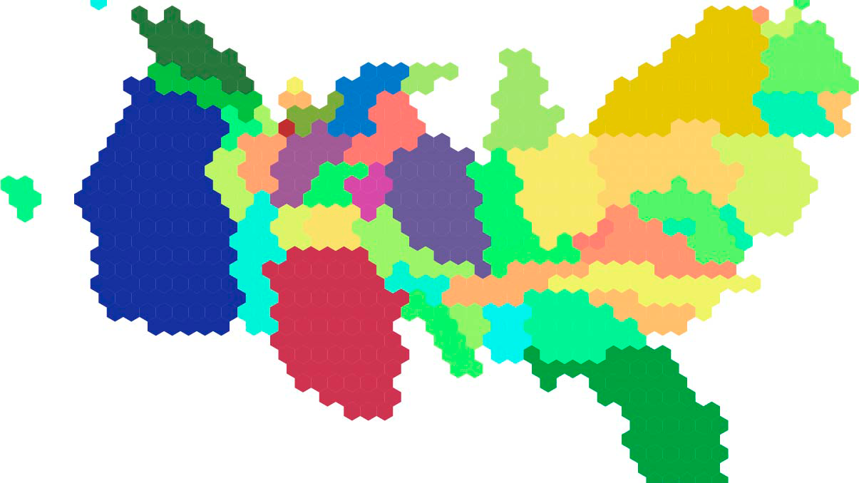 From Top Population Count Tilegrams Topojson File Imported Into Geojson Io By Ruoran Lin Urban Populations By State Us Census 2010 By Daniel Chi Cook