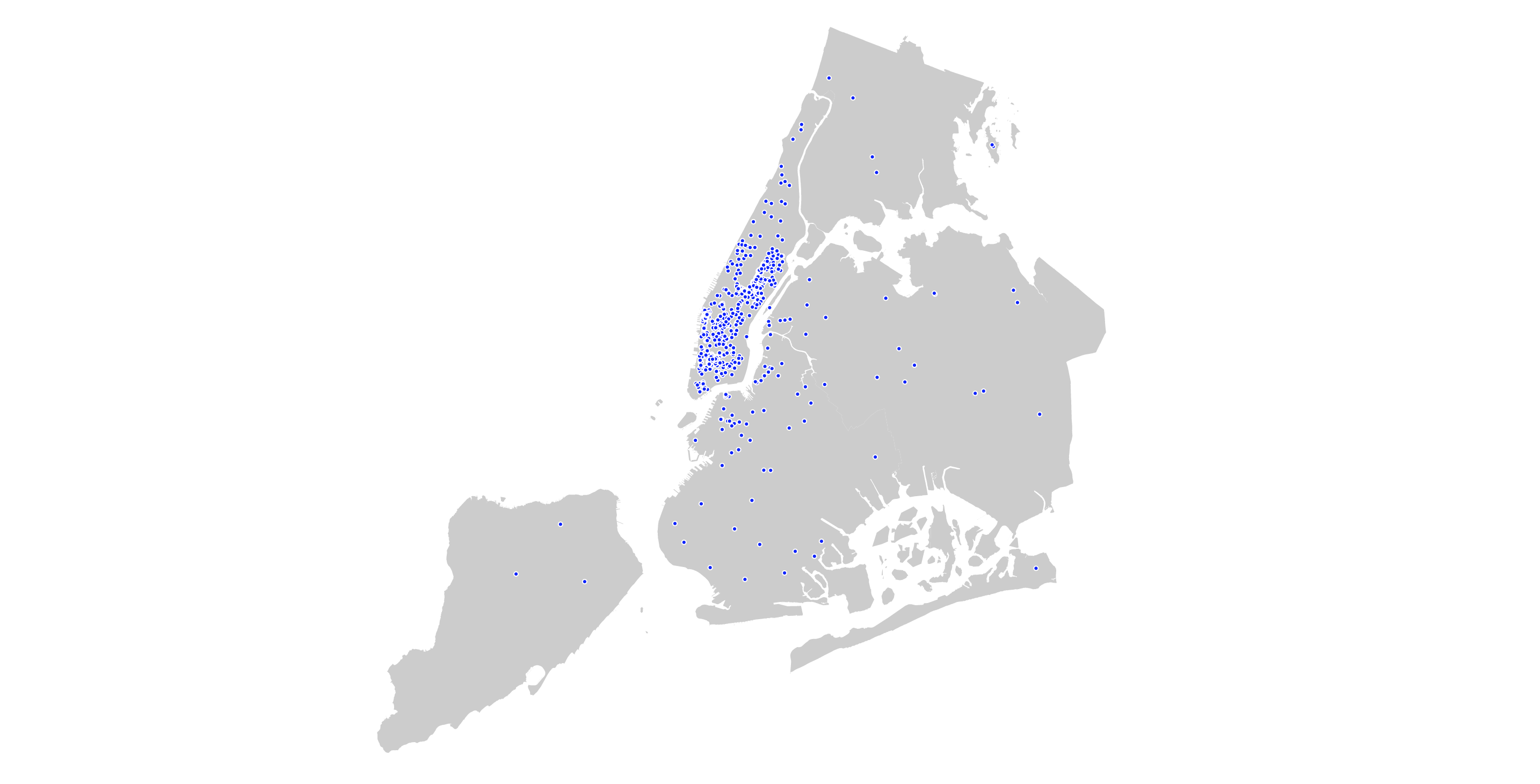 From Top A Dot Map Visualizing The Locations Of Art Galleries In Nyc A Snippet Of Geojson Data The D3 Js Mercator Projection The Locations Of Linknyc