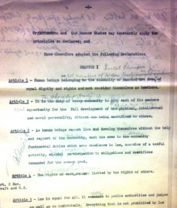Eleanor Roosevelt's draft of the UDHR, FDR Library and Archives.