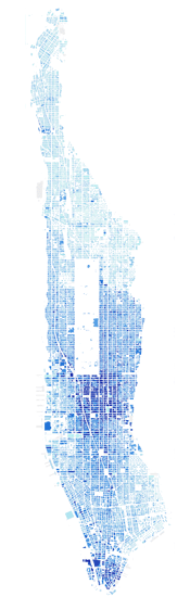 Land value by square foot of dirt, Manhattan. Map by Bill Rankin.