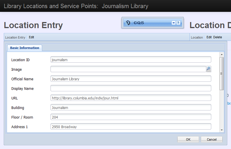 Screenshot: CQ Location Entry dialog
