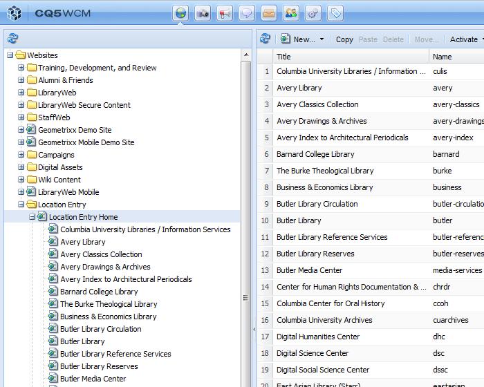 Screenshot: CQ Location Entry content tree