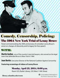 Lenny Bruce and Censorship Event (April 21)