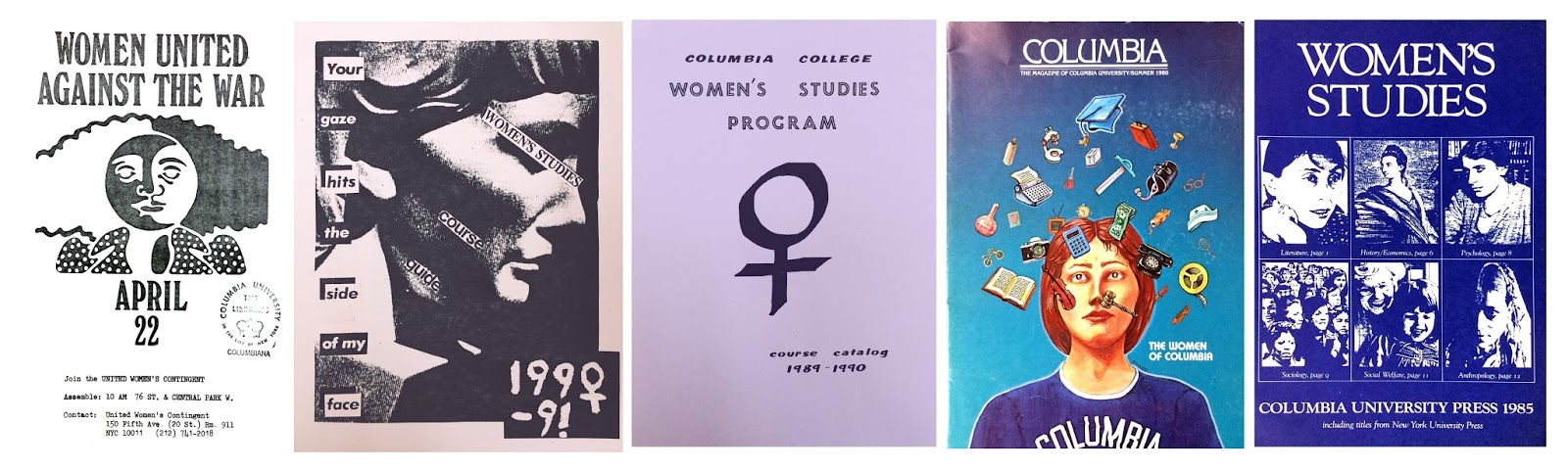 Images found in the Columbia University Archives' Historical Subject Files: Left to right, Box 260, Folder 6; Box 261, Folder 13; Box 261, Folder 13; Box 260, Folder 8; Box 261, Folder 13.