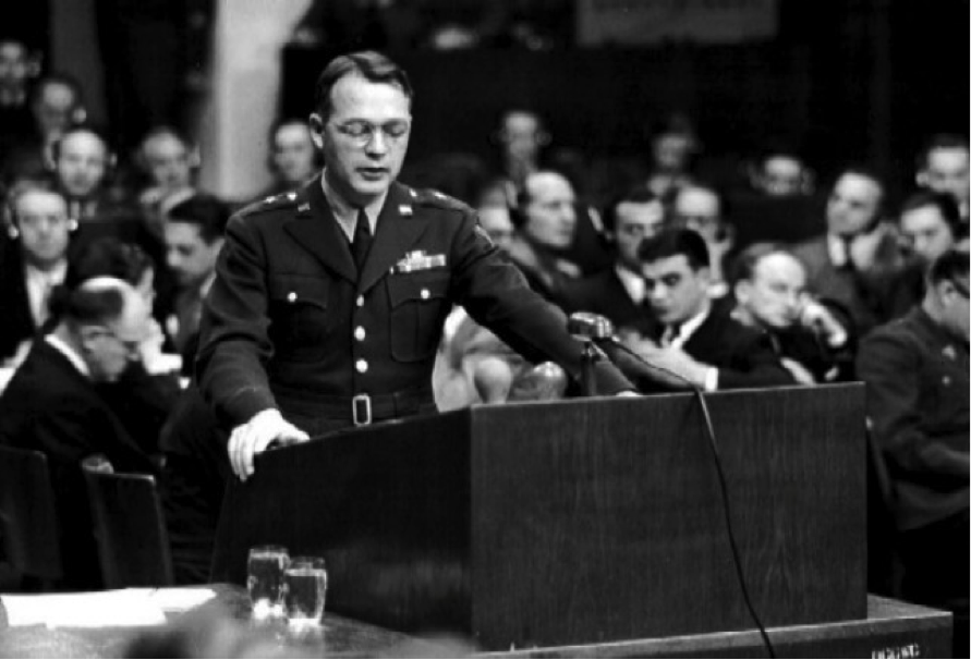 U.S. Brigadier General Telford Taylor addresses the Tribunal