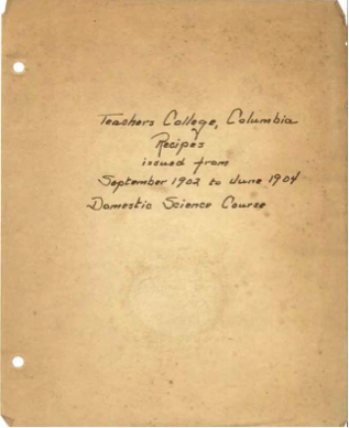 cookbook pages from Columbia University Archives