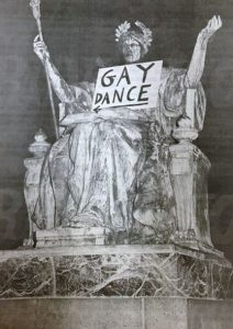 "Columbia statue with ""gay dance"" poster in lap"