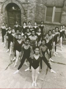 Dance Theatre of Harlem company members in front of Church of the Master, 1969. Photograph by Marbeth, New York.