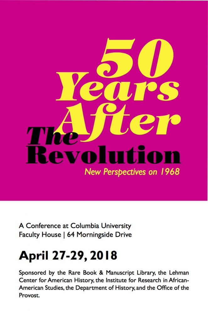 conference program for Columbia '68 symposium