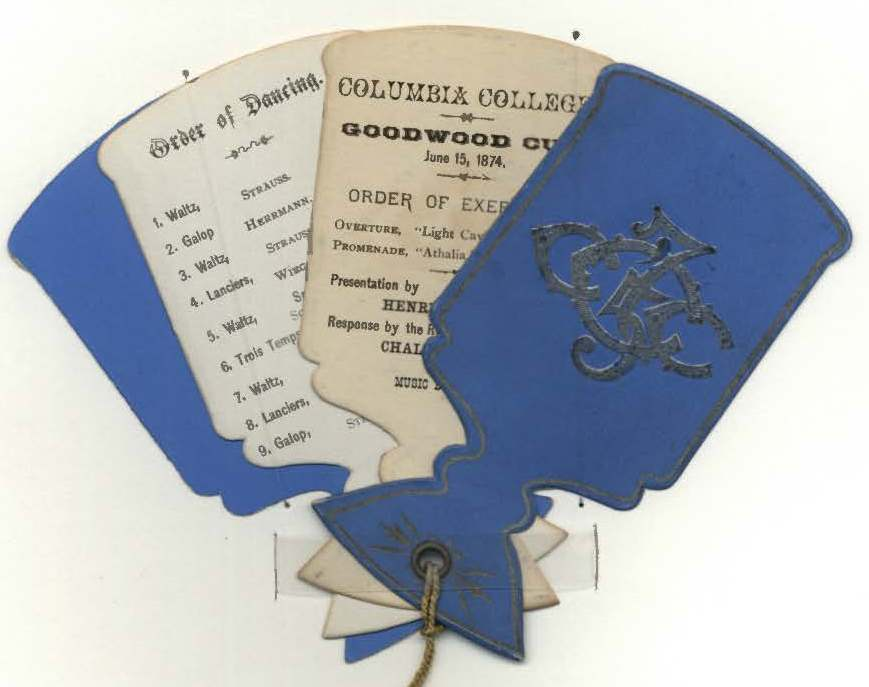 blue and white dance cards from 1800s